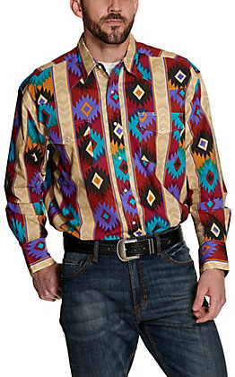 Wrangler Men's Checotah Tan Multi Aztec Print Long Sleeve Western Shirt