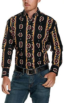 Wrangler Men's Checotah Black with Tan & Red Aztec Print Long Sleeve Western Shirt
