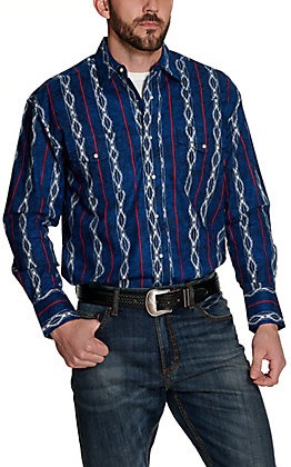 Wrangler Men's Checotah Blue with White Aztec and Red Stripes Print Long Sleeve Western Shirt