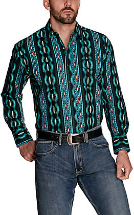 Wrangler Men's Checotah Teal Aztec Print Long Sleeve Western Shirt