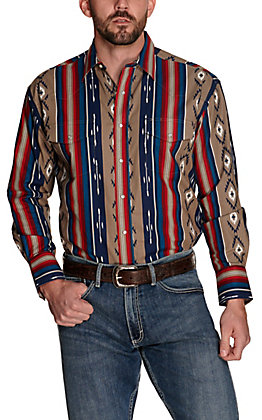 Wrangler Men's Checotah Khaki with Blue and Red Aztec Print Long Sleeve Western Shirt
