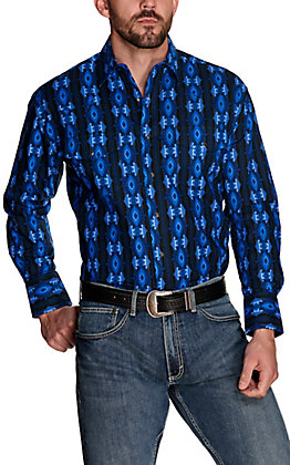 Wrangler Men's Checotah Blue Aztec Print Long Sleeve Western Shirt