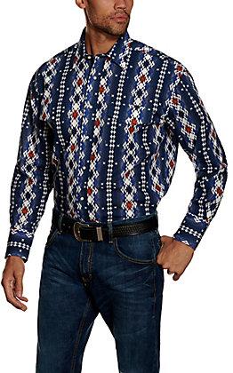 Wrangler Men's Checotah Navy with Multi Print Long Sleeve Western Shirt