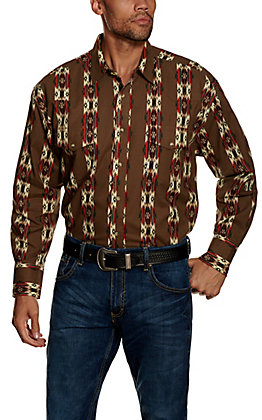 Wrangler Checotah Brown and Red Print Long Sleeve Western Shirt