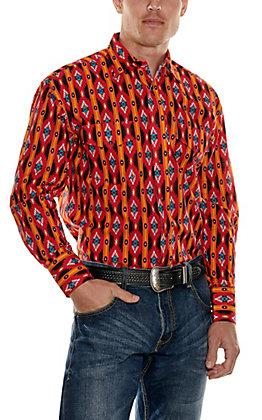 Wrangler Checotah Red and Orange Print Long Sleeve Western Shirt