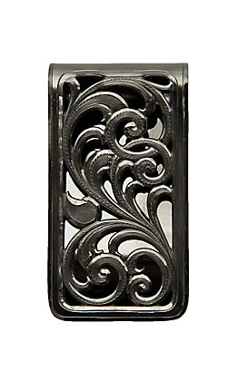 Montana Silversmiths Black Nickle Square Fililgree Money Clip