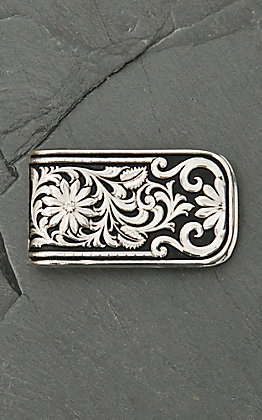 Montana Silversmiths Floral Scroll Leather Money Clip