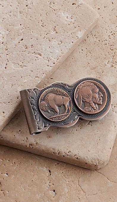 70232b07c912 Montana Silversmiths Scalloped Vintage Bronze Buffalo Nickel Money Clip