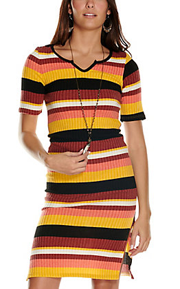 Silvergate Women's Multi Stripes Knit Short Sleeve Midi Dress