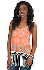 Miss Me Women's Neon Orange with Fringe Chiffon Camisole