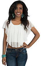 Miss Me Women's Off White Dot Lace Crop Top