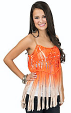 Miss Me Women's Orange Ombre Crochet Fringe Tank