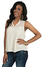 Miss Me Women's Cream Dot with Sequins Tank