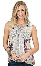 Miss Me Women's Plum Multicolor Plaid Blended Sleeveless Top
