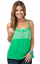 Miss Me Women's Green Chiffon with Lace Open Back Camisole