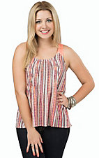 Miss Me Women's Colorful Print with Neon Coral Straps Tank