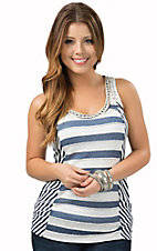 Miss Me Women's Navy & White Stripe with Lace Tank