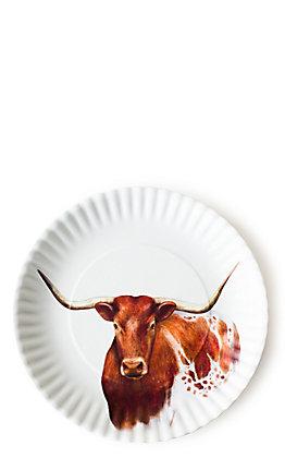 One Hundred 80 Degrees Longhorn Design Set of 4 Melamine Plates
