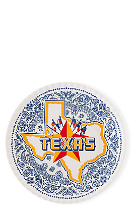 One Hundred 80 Degrees Keep the Faye Texas Star and Flags Set of 4 Melamine Plates