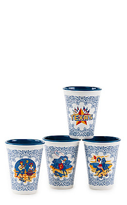 One Hundred 80 Degrees Texas Star and Six Flags Set of 4 12 oz Melamine Cups
