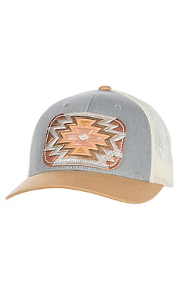 McIntire Saddlery Mustard/Grey with Aztec Print Tooled Leather Cap
