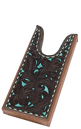 M&F Tooled Brown with Turquoise Underlay Boot Jack