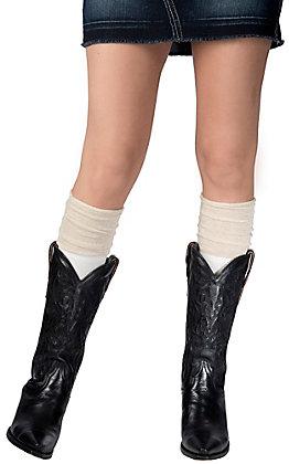 Blazin Roxx Women's Cream with Gold Sparkle Top Socks