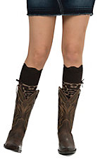 Blazin Roxx Women's Brown Leopard with Polka Dot Top Socks