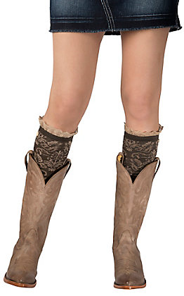 Blazin Roxx Women's Brown & Tan Paisley Print with Lace Trim Socks
