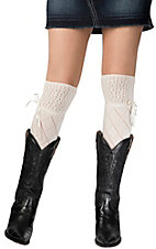 Blazin Roxx Women's Cream Diamond Pattern with Ribbon Lace Socks