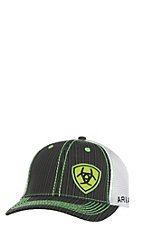 Ariat Black with Lime Accents and Logo Mesh Snap Back Cap