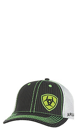 e29922de Ariat Black with Lime Accents and Logo Mesh Snap Back Cap