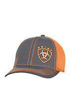 Ariat Charcoal with Orange Embroidered Logo and Orange Mesh Snap Back Cap