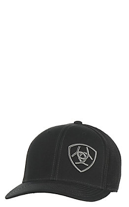 Ariat Black with Grey Logo Mesh Snap Back Cap