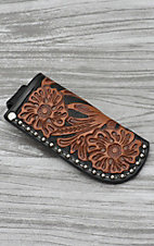 Nocona Black with Brown Floral Tooled Leather Knife Sheath