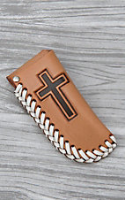 Nocona Tan with Brown Cross Leather Knife Sheath