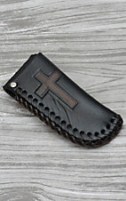 Nocona Black with Brown Cross Leather Knife Sheath