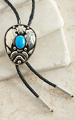 M&F Western Antique Silver & Black with Turquoise Southwest Bolo Tie