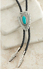 M&F Western Products Antiqued Silver Turquoise Arrowhead Bolo