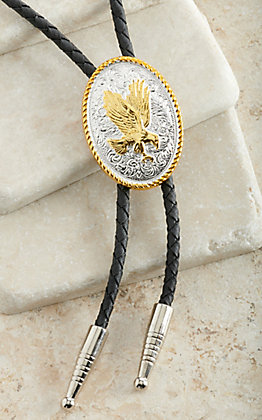 M&F Western Silver & Gold with Eagle Center Oval Bolo Tie