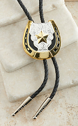 M&F Western Silver and Gold Star & Horseshoe Bolo Tie