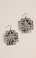 Blazin Roxx Bronze with White Metal Cross Hook Earrings