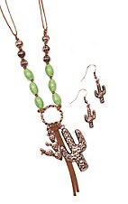 Blazin Roxx Copper And Green Beaded Necklace with Cactus Charms and Earrings Jewelry Set