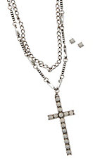 Blazin Roxx White Stone Cross and Chain Necklace with White Stone Earrings Jewelry Set