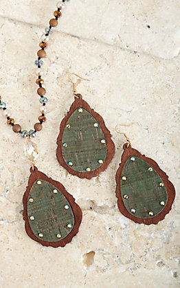 Blazin Roxx Brown and Turquoise Beads with Wooden Teardrop Pendant Jewelry Set