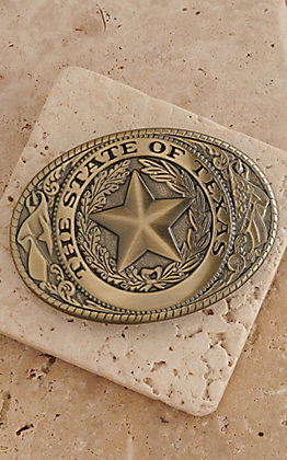 M&F Western Products Matte Brass State of Texas Buckle