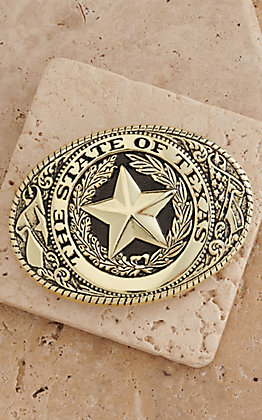 M&F Western Products Brass State of Texas Buckle