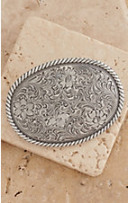 M&F Western Products Silver Oval Floral Etched Buckle