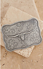 M&F Western Products Silver Longhorn Head Rectangle Scalloped Belt Buckle
