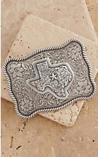 Nocona Silver Texas Scalloped Rectangle Buckle